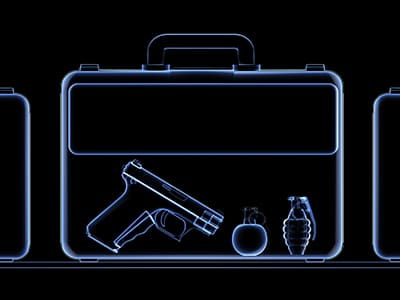 X-ray of a suitcase full of weapons